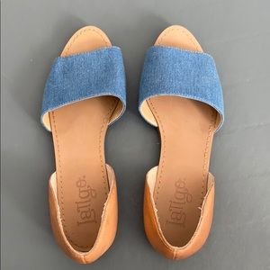 Leather Flats with Denim Strap
